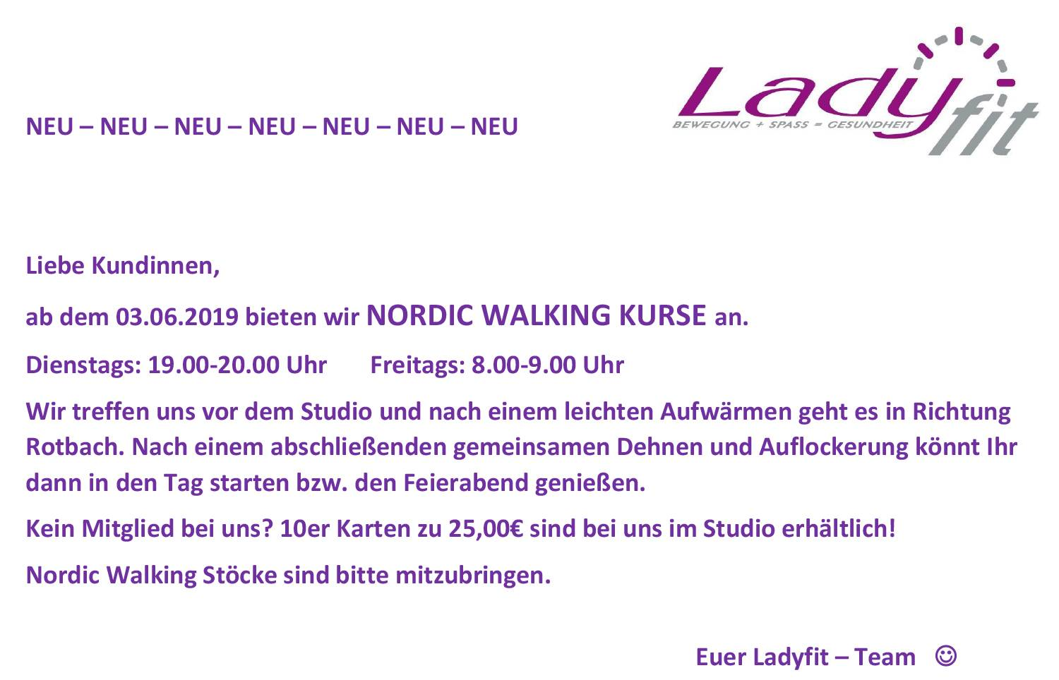 Aushang Nordic Walking